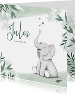 Geboortekaartje jongen olifant dieren groen jungle