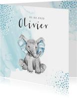 Geboortekaartje jongen olifant waterverf hartjes blauw