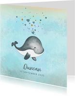 Geboortekaartje jongen schattig walvisje met hartjes