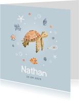 Geboortekaartje jongen schildpad zee onderwater