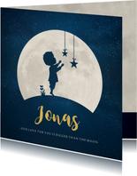 Geboortekaartje Jongen - silhouet met maan en sterren