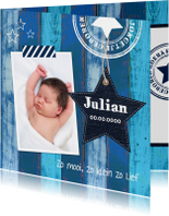 Geboortekaartje jongen ster houtprint