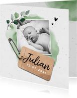 Geboortekaartje jongen stoer lief met waterverf en label