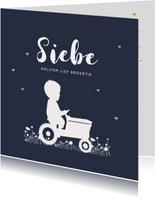 Geboortekaartje jongen tractor blauw