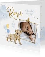Geboortekaartje jongen welpje ballonnen watercolor foto goud