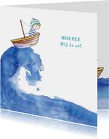 Geboortekaartje jongetje in bootje op zee