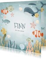 Geboortekaartje jongetje met visjes, walvis, oceaan sterren