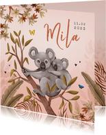 Geboortekaartje jungle meisje koala beer vlinders