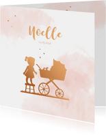 Geboortekaartje kinderwagen met zusje silhouet