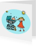 Geboortekaartje kinderwagen zusje