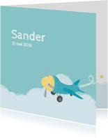 Geboortekaartje klein vliegtuig