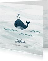 Geboortekaartje kleine walvis met hartjes blauw