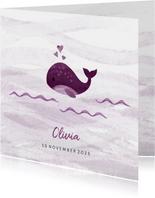 Geboortekaartje kleine walvis met hartjes roze