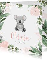 Geboortekaartje koala jungle meisje hartjes