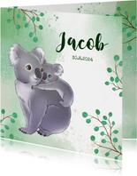 Geboortekaartje koala met baby en takjes waterverf