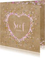 Geboortekaartje kraft hart bloemetjes sterretjes en hartjes