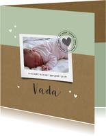 Geboortekaartje kraft polaroid hartje