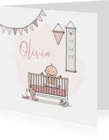 Geboortekaartje ledikant roze met baby