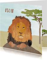 Geboortekaartje leeuw op savanne