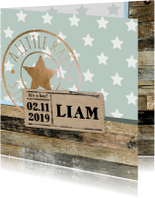 Geboortekaartje Liam sterren hout- LO