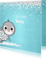 Geboortekaartje lief blauw kaartje met een pinguïn