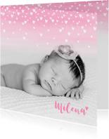 Geboortekaartje lief hartjes aquarel foto roze
