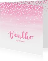 Geboortekaartje lief  hartjes aquarel roze