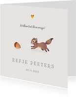 Geboortekaartje lief herfst met schattig eekhoorntje
