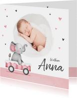Geboortekaartje lief meisje olifant foto hartjes