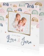 Geboortekaartje lief meisje regenboog tweeling waterverf