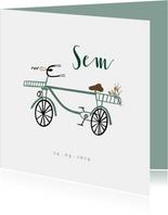 Geboortekaartje lief met groenblauw fietsje