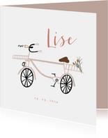 Geboortekaartje lief met roze fiets en boeketje