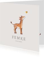 Geboortekaartje lief voor een jongen of meisje met girafje