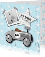 Geboortekaartje loopauto jongen
