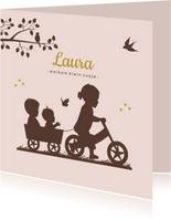 Geboortekaartje loopfiets zusje met baby