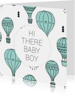 Geboortekaartje luchtballon boy