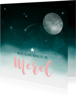 Geboortekaartje maan sterren wolken meisje