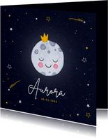 Geboortekaartje maan sterretjes kroontje universum