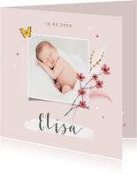 Geboortekaartje meisje bloemen lief hartjes foto vlinder
