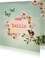 Geboortekaartje meisje bloemen vlinders