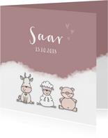 Geboortekaartje  meisje boerderijdieren