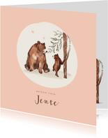 Geboortekaartje meisje bruine beren hartjes