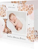Geboortekaartje meisje dierenprint giraf foto