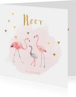 Geboortekaartje meisje flamingo gouden hartjes
