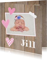 Geboortekaartje meisje foto hartjes hout