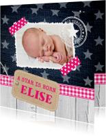 Geboortekaartje meisje foto label