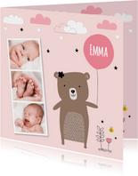 Geboortekaartje meisje fotocollage beertje
