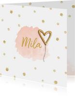 Geboortekaartje meisje hartje goudfolie ballon