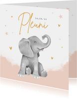 Geboortekaartje meisje hartjes goud waterverf olifant