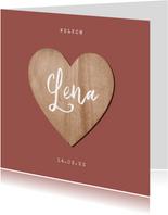 Geboortekaartje meisje houten hartje foto terra roze
